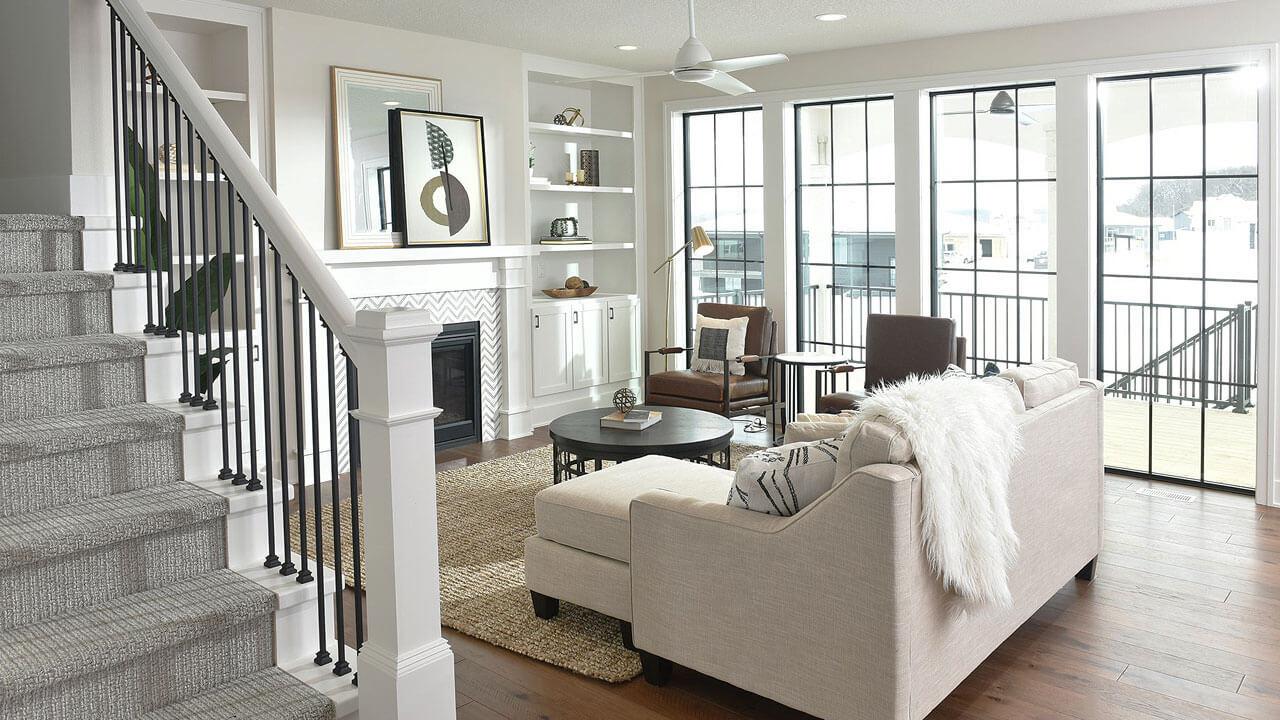 Stunning living room in custom house built by Neighborhood Builders