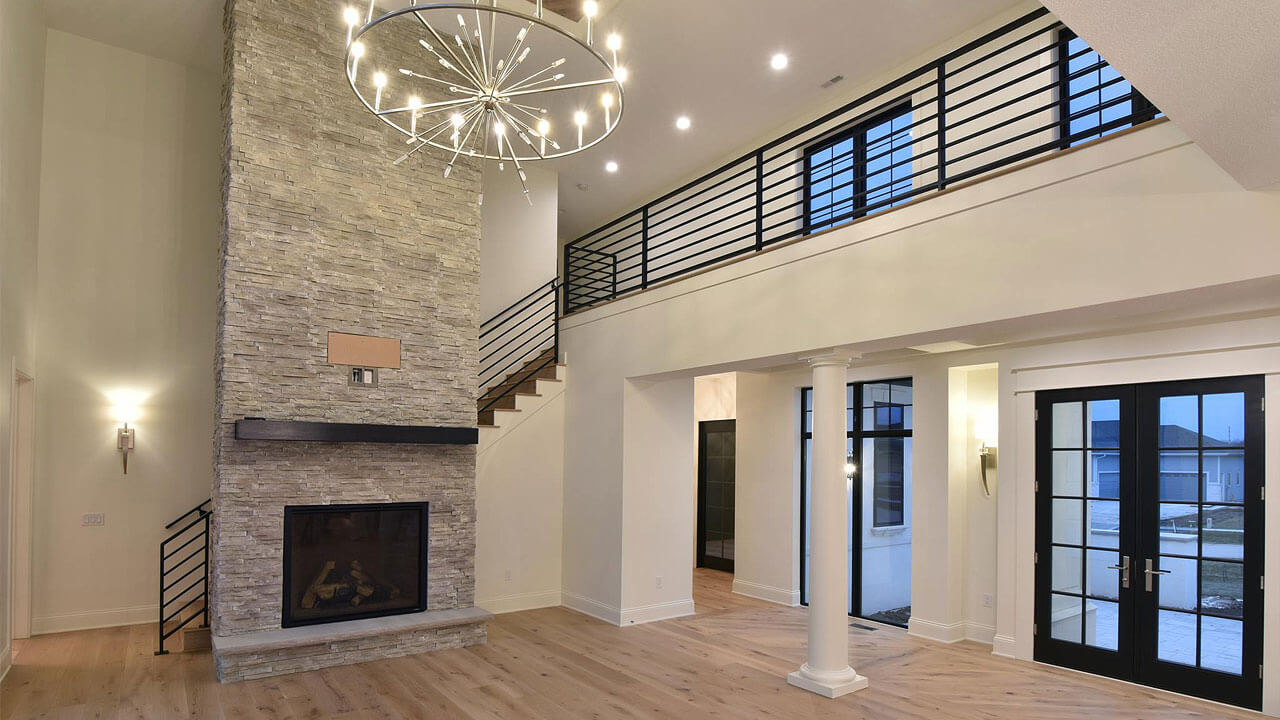 Stunning living room in custom house built by Neighborhood Builders