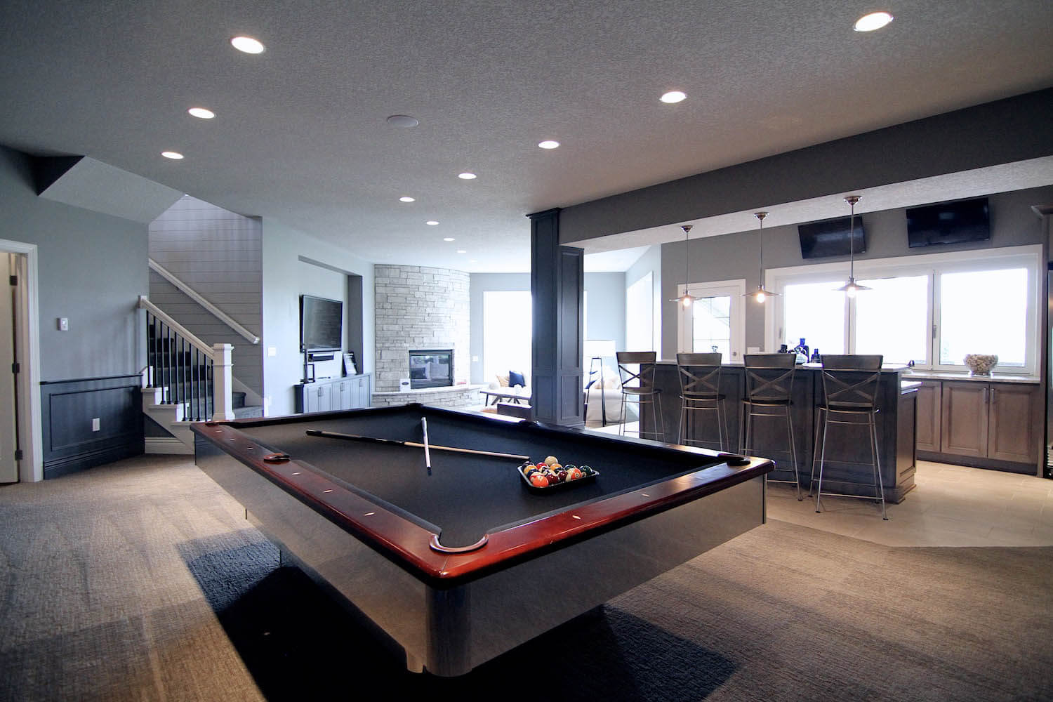 Pool table in a finished basement